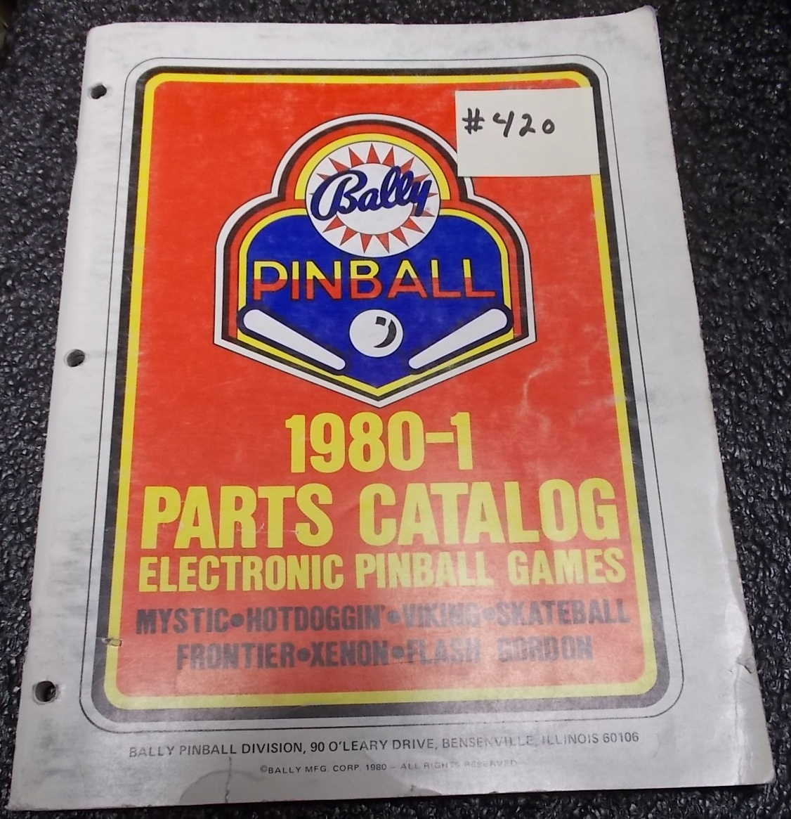 to buy run shoes performance sportswear BALLY Pinball Machine Game 1980-1 Parts Catalog #420 for ...