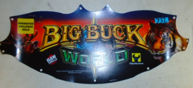 BIG BUCK HUNTER WORLD Arcade Machine Game FLEXIBLE Overhead Marquee Header #732 for sale