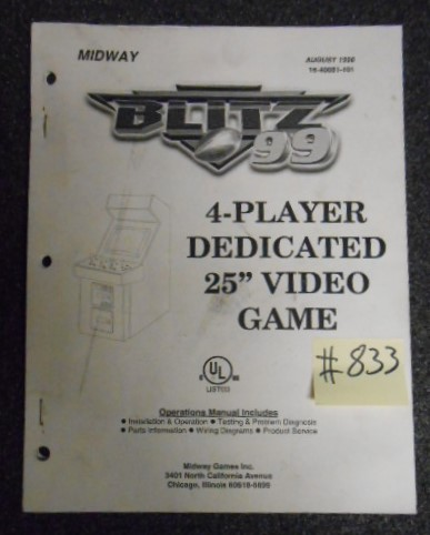 BLITZ 99 4 PLAYER DEDICATED Arcade Machine Game OPERATIONS MANUAL #833 for sale
