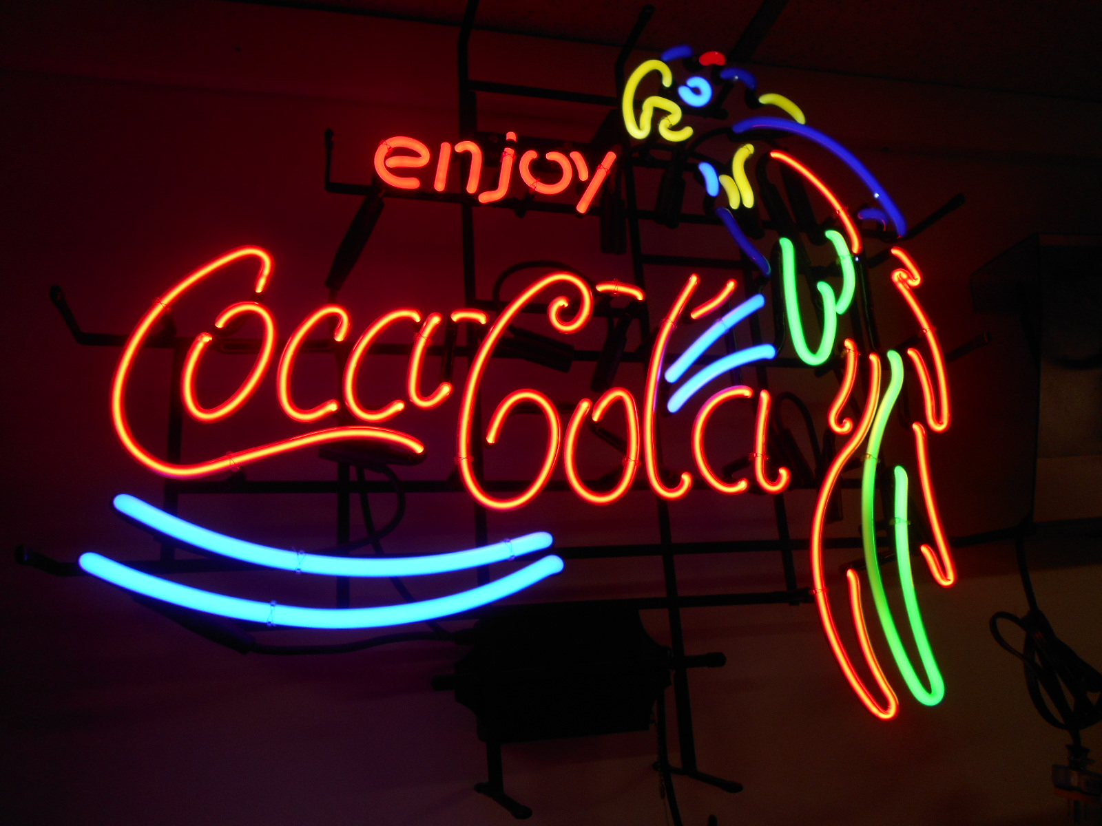 Neon Signs For Sale >> Coca Cola Parrot Neon Advertising Promotion Electric Bar Sign For Sale | COIN-OP PARTS ETC ...
