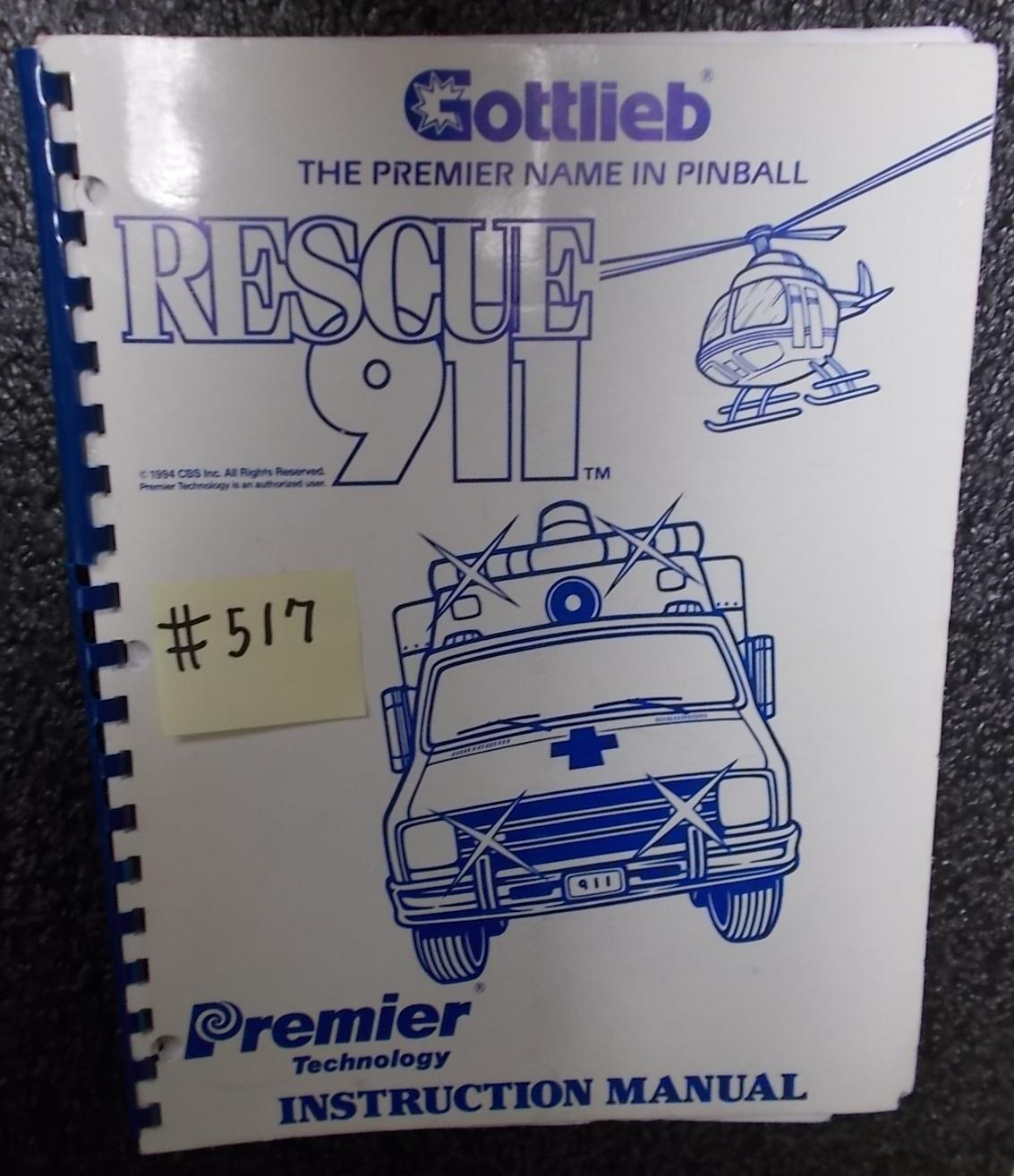 bf8d0db7cdf91b RESCUE 911 Pinball Machine Game Instruction Manual  517 for sale - GOTTLIEB