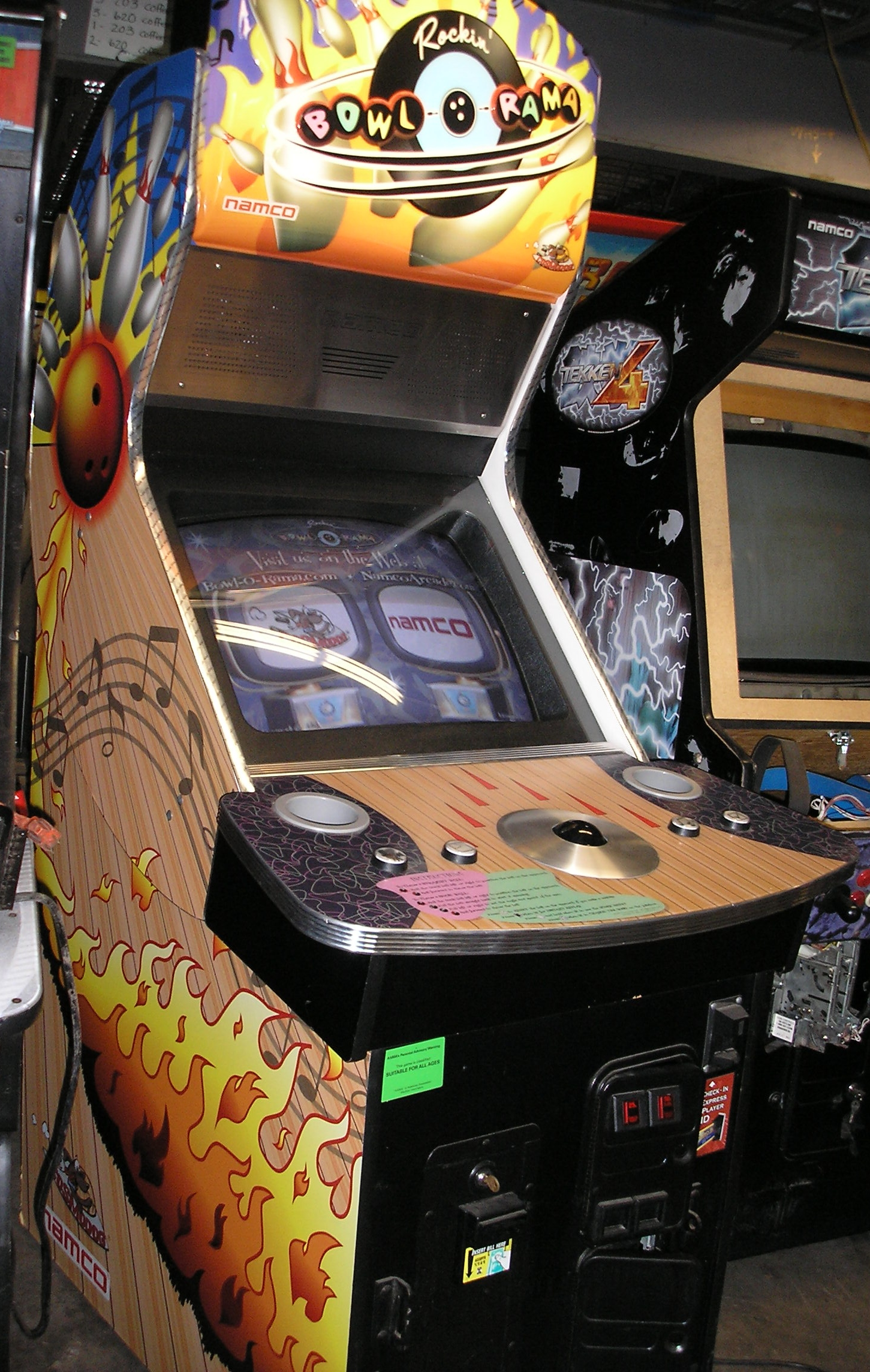 Used Arcade Games Sale : Rockin bowl o rama arcade machine game for sale by namco