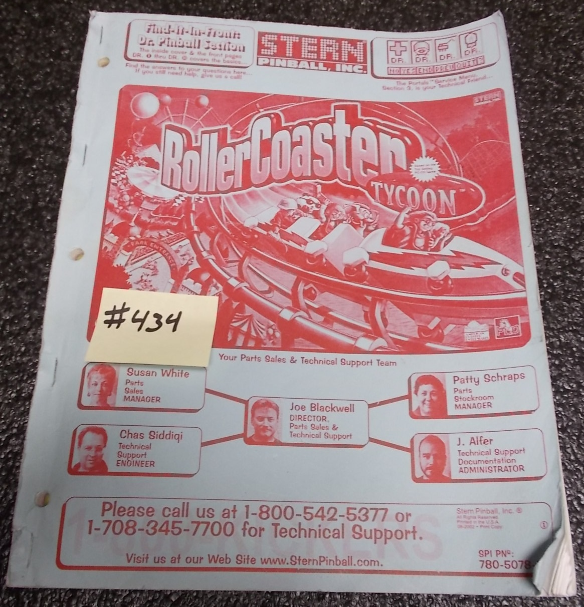 ROLLERCOASTER TYCOON Pinball Machine Game Owner's Manual