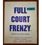 FULL COURT FRENZY Arcade Machine Game OWNER'S and SERVICE MANUAL #1205 for sale