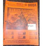 SEGA HARLEY DAVIDSON Pinball Machine Game Owner's Manual #402 for sale