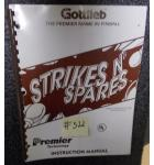 STRIKES N' SPARES Pinball Machine Game Instruction Manual #522 for sale - GOTTLIEB