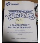 TEENAGE MUTANT NINJA TURTLES 4 PLAYER Arcade Machine Game INSTRUCTION MANUAL #649 for sale