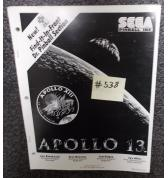 APOLLO 13 Pinball Machine Game Operations Manual #538 for sale - SEGA