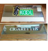KOOL & CIGARETTES Genuine Cigarette Vending Machine Marquee Header MIRRORED GLASS for sale - Lot of 2 pieces