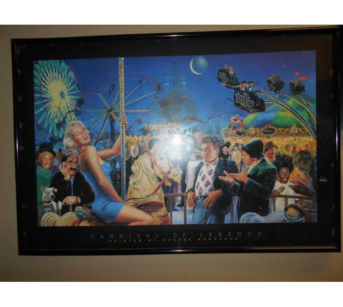 Carnival of Legends famous movie characters Art Print Poster by George Bungarda - Marilyn Monroe, James Dean, Marx Brothers for sale