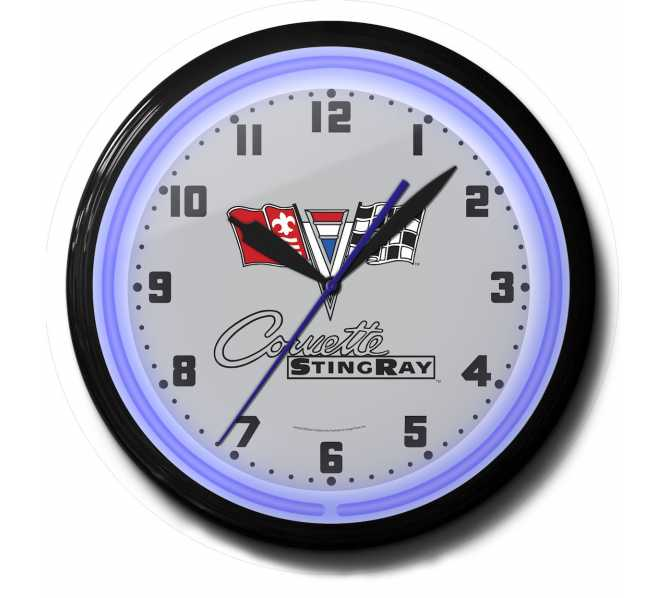 Corvette Stingray Neon Clock - for sale - Sweeping second hand