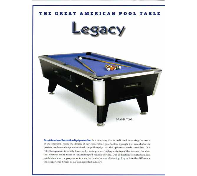 LEGACY 7' Pool Table by Great American - Coin-Operated - Commercial