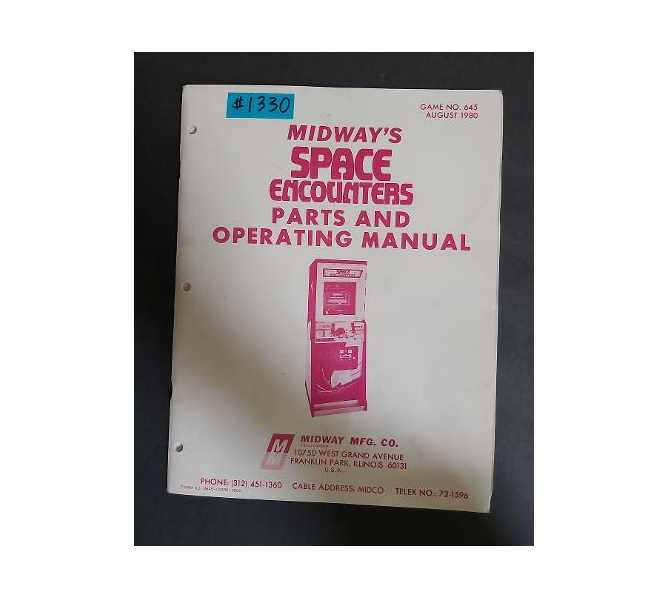 MIDWAY SPACE ENCOUNTERS Arcade Machine Game Parts and Operating Manual Owner's Manual #1330 for sale