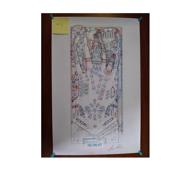 SPIDER-MAN Pinball Machine Game Autocad Blueprint Artwork Signed #4 for sale