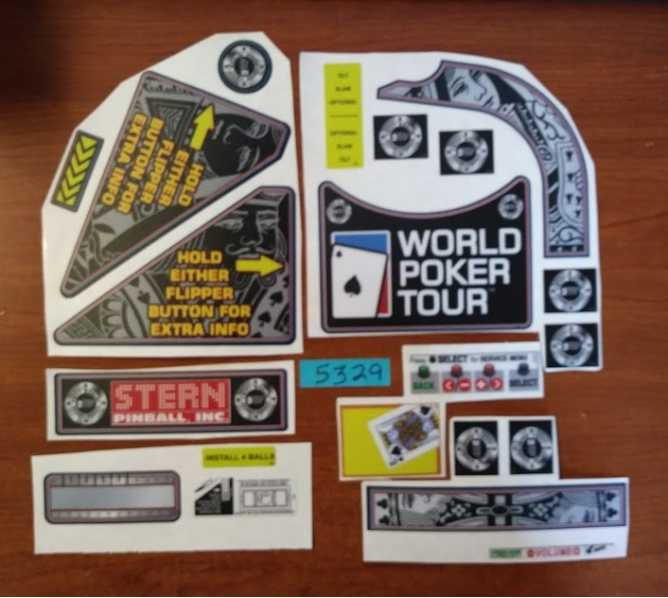 STERN WORLD POKER TOUR Pinball Machine Game 21 pc. Partial Decal Set #5329 for sale - NOS - FREE SHIPPING