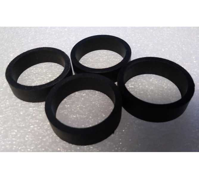 """Standard 1.5"""" x .5"""" Black Rubber Flipper Rings for many Gottlieb Bally Williams Stern Jersey Jack & Chicago Gaming Pinball Machines - Set of 4"""