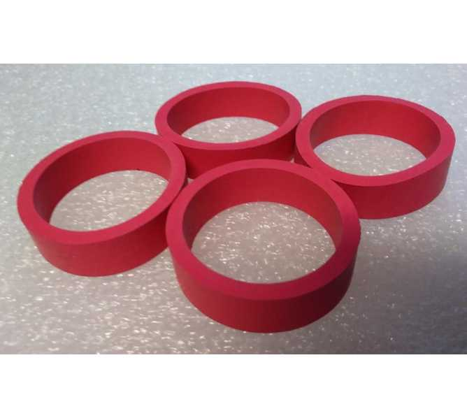"""Standard 1.5"""" x .5"""" Red Rubber Flipper Rings for many Gottlieb Bally Williams Stern Jersey Jack & Chicago Gaming Pinball Machines - Set of 4"""