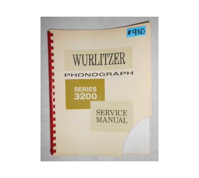 WURLITZER SERIES 3200 Jukebox SERVICE MANUAL #910 for sale