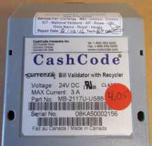 CURRENZA CASHCODE RECYCLER Dollar Bill Validator Acceptor Changer DBA #MB2117U